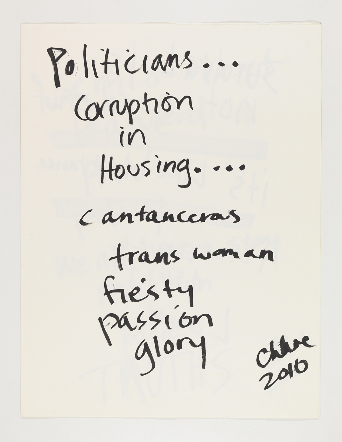 Chloe Dzubilo, Politicians, 2010. Courtesy of Visual AIDS.